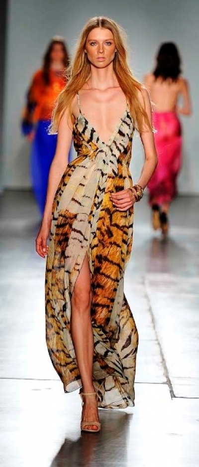 Tiger Silk Chiffon Dress