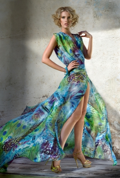 Blue  Jungle Silk Chiffon Wrap Up Dress