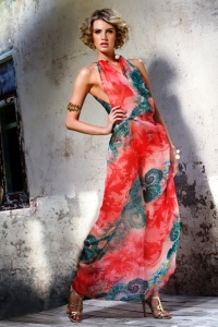 Red Sea Silk Chiffon Wrap Up  Dress