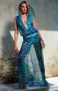 Green Tiger Chiffon 100% Silk Fabric