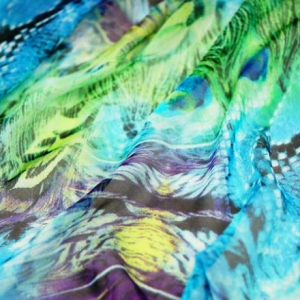 Blue Jungle Chiffon 100% Silk Fabric