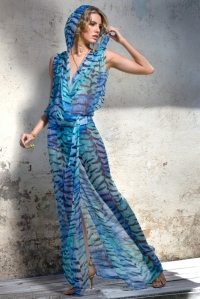 Blue Tiger Silk Chiffon Wrap Up Dress